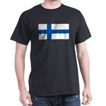 Finland Finish Blank Flag Black T-Shirt