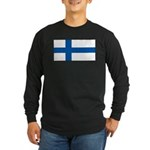 Finland Finish Blank Flag Long Sleeve Black TShirt