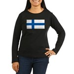 Finland Flag Women's Long Sleeve Brown Shirt