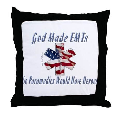 God Made EMTs Throw Pillow