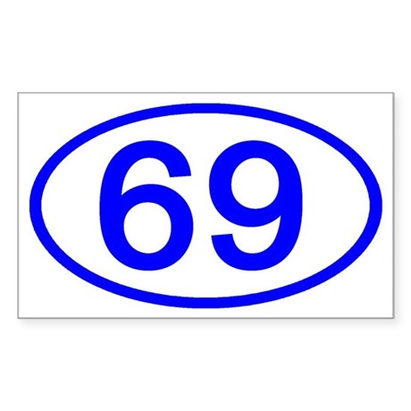 Blue Gifts > Blue Stickers > Number 69 Oval Rectangle Sticker