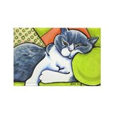 Cozy Bicolor British Shorthair Off-Leash Art™ Rect
