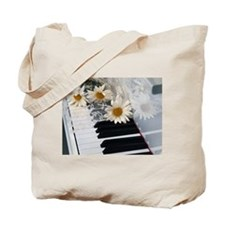 Piano and Daisies Tote Bag