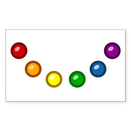 Rainbow Baubles Rectangle Sticker