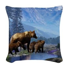 Mountain Grizzly Bears Woven Throw Pillow
