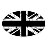 &quot;Black Union Jack&quot; Oval Bumper Stickers