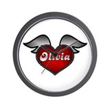 &quot;Olivia Heart with Wings&quot; Wall Clock
