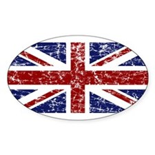 """Red Navy Union Jack"" Oval Decal"