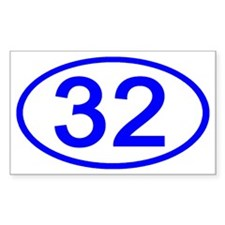 Number 32 Oval Rectangle Decal
