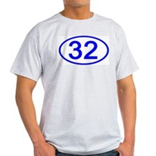 Number 32 Oval Ash Grey T-Shirt