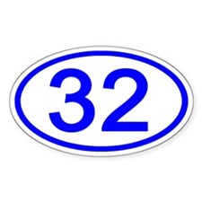 Number 32 Oval Oval Decal