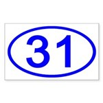 Number 31 Oval Rectangle Sticker