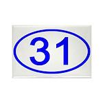 Number 31 Oval Rectangle Magnet (100 pack)
