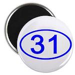 Number 31 Oval Magnet