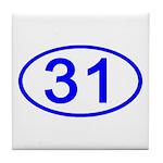 Number 31 Oval Tile Coaster