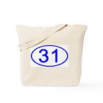 Number 31 Oval Tote Bag