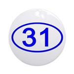Number 31 Oval Ornament (Round)