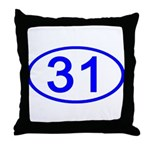 Number 31 Oval Throw Pillow