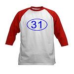 Number 31 Oval Kids Baseball Jersey