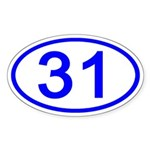 Number 31 Oval Oval Sticker