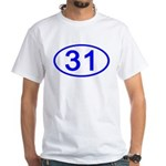 Number 31 Oval Premium White T-Shirt