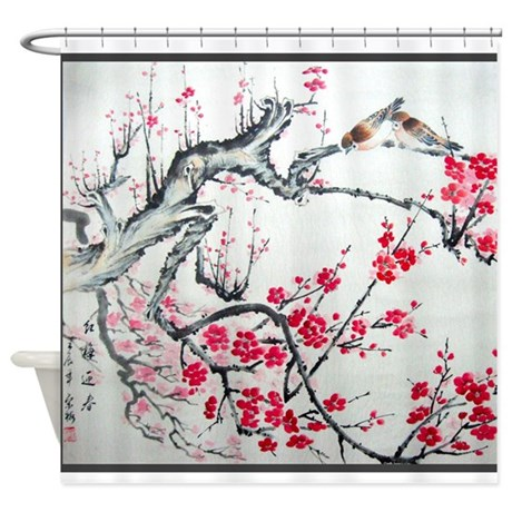 Asian black shower curtain