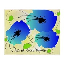 Retired Social Worker Blue Flowers Throw Blanket