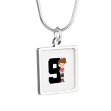 Soccer Sports Number 9 Silver Square Necklace