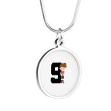 Soccer Sports Number 9 Silver Round Necklace