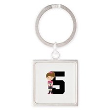 Soccer Sports Number 5 Square Keychain