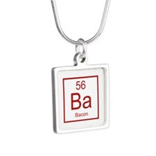 Bacon Silver Square Necklace