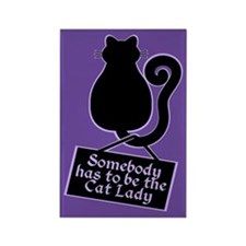Cat Lady Purple Rectangle Magnet