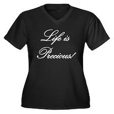 Precious Life Women's Size V-Neck Dark T-Shirt