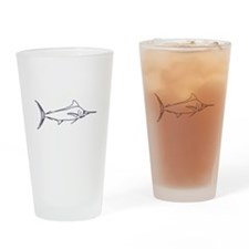 Blue Marlin Logo (line art) Drinking Glass