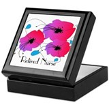 Retired Nurse Fuschia Flowers Keepsake Box