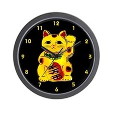 Gold Maneki Neko Wall Clock