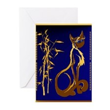 Two gold Siamese Kitties Greeting Cards (Pk of 20)