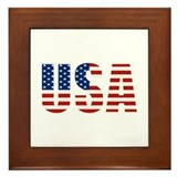 USA Flag Framed Tile