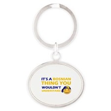 Bosnian smiley designs Oval Keychain