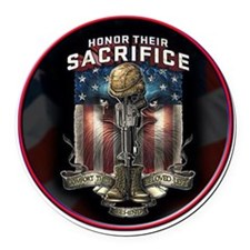 01026 HONOR THEIR SACRIFICE Round Car Magnet