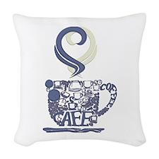 Coffee Cup Art Woven Throw Pillow