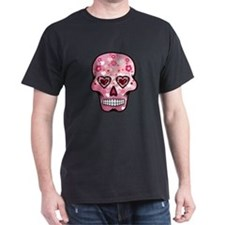 CANDY SKULL-Pink hearts-1 T-Shirt