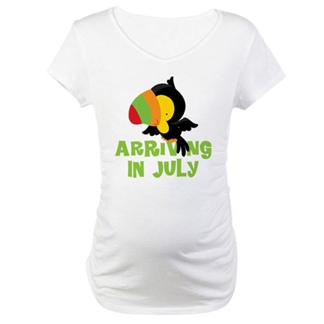 Arriving In July Pregnancy Toucan Maternity T-Shir