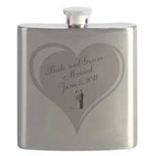 Bride and Groom Heart Wedding Favor Flask
