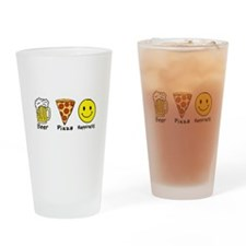 Beer Pizza Happiness Drinking Glass