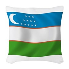 Uzbekistan Flag Woven Throw Pillow