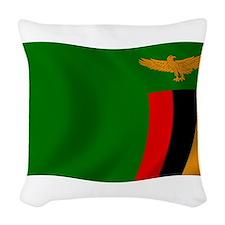 Zambia Flag Woven Throw Pillow