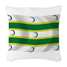 Turkmen Flag Woven Throw Pillow