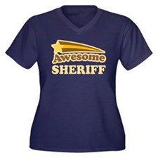 Awesome Sheriff Women's Plus Size V-Neck Dark T-Sh