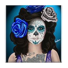 Blue Rose Muertos Pin-up Portrait Tile Coaster